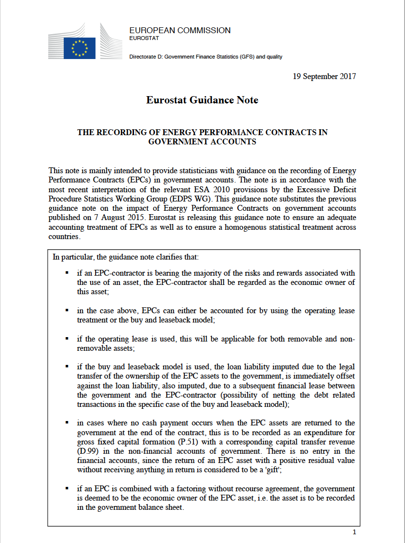 Eurostat Clarifies How To Record Energy Performance Contracts In