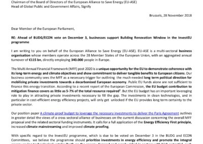 Ahead of BUDG/ECON vote on December 3, businesses support Building Renovation Window in the InvestEU programme