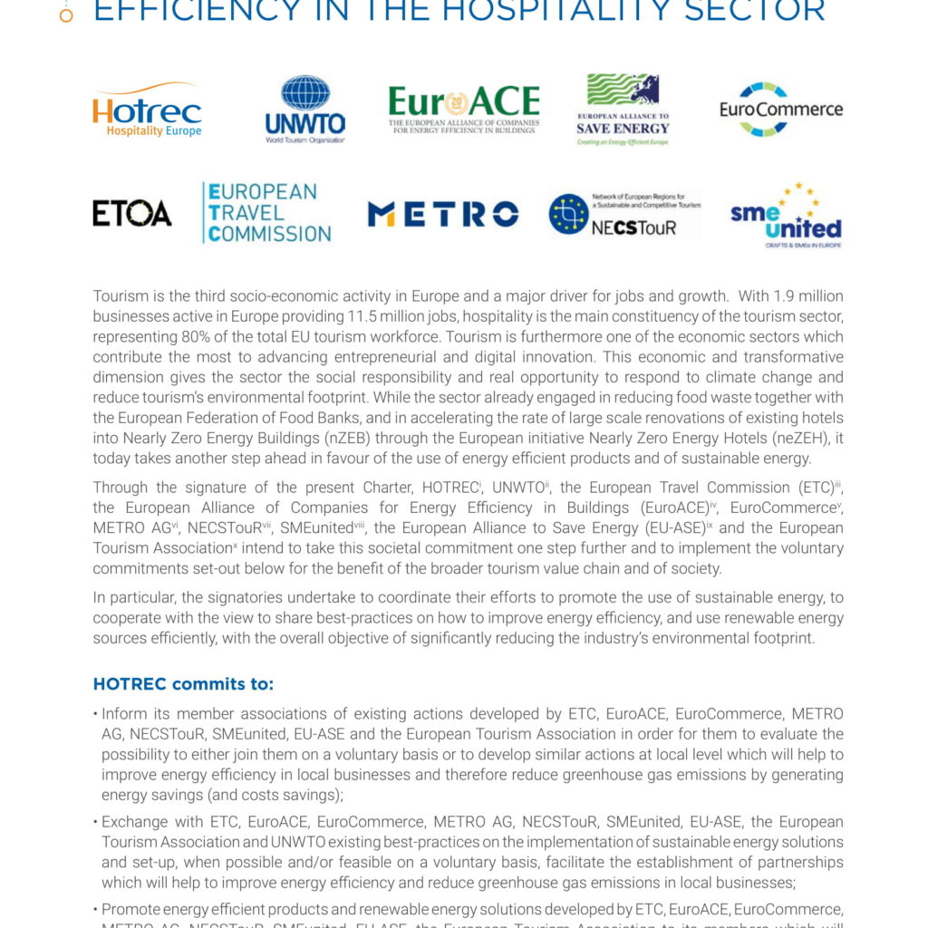 HOTREC Sustainability Charter: Promoting the use of sustainable energy and improving Energy Efficiency in the Hospitality sector