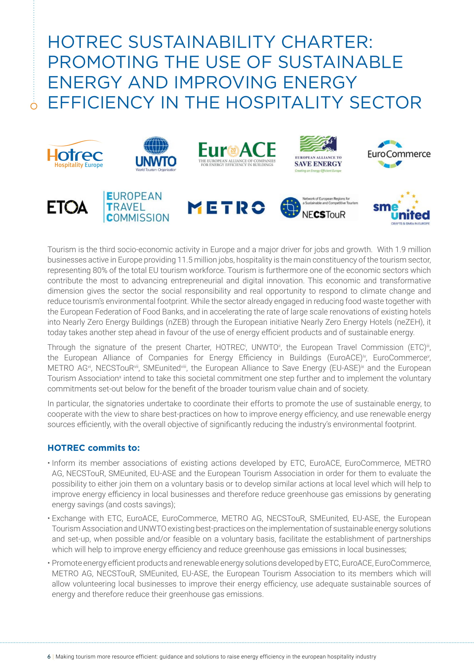 HOTREC Sustainability Charter: Promoting the use of