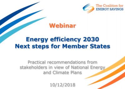 The Coalition for Energy Savings webinar: Energy Efficiency 2030 – Next steps for Member States