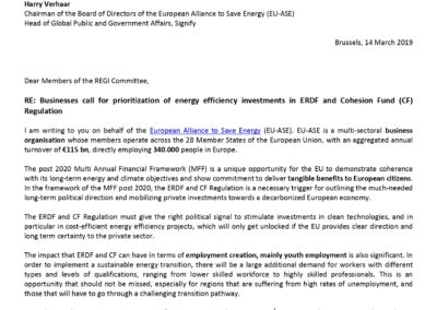Businesses call for prioritization of energy efficiency investments in ERDF and Cohesion Fund (CF) Regulation