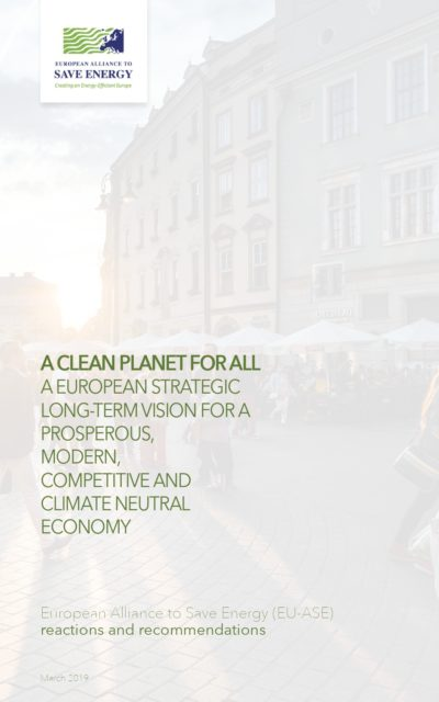 """EU-ASE Recommendations for the European Commission's long-term strategy """"A Clean Planet for All"""""""