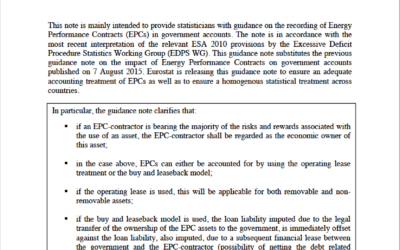 Eurostat clarifies how to record energy performance contracts in national accounts