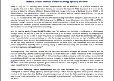 Multinational corporations urge the Italian Government to lead a progressive coalition of Member States to increase ambition of major EU energy efficiency directives