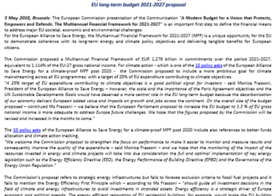 EU-ASE reaction to EU long-term budget 2021-2027 proposal