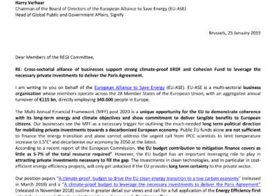 Cross-sectoral alliance of businesses support strong climate-proof ERDF and Cohesion Fund to leverage the necessary private investments to deliver the Paris Agreement.