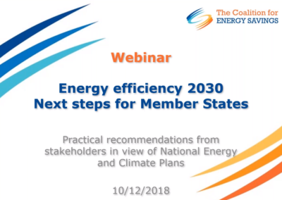 The Coalition for Energy Savings webinar: Energy Efficiency 2030 – Next steps for Member States