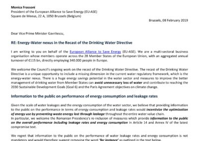 Energy-Water nexus in the Recast of the Drinking Water Directive