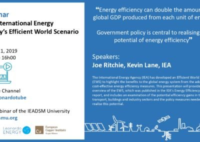 Leonardo ENERGY Webinar: The International Energy Agency's Efficient World Scenario