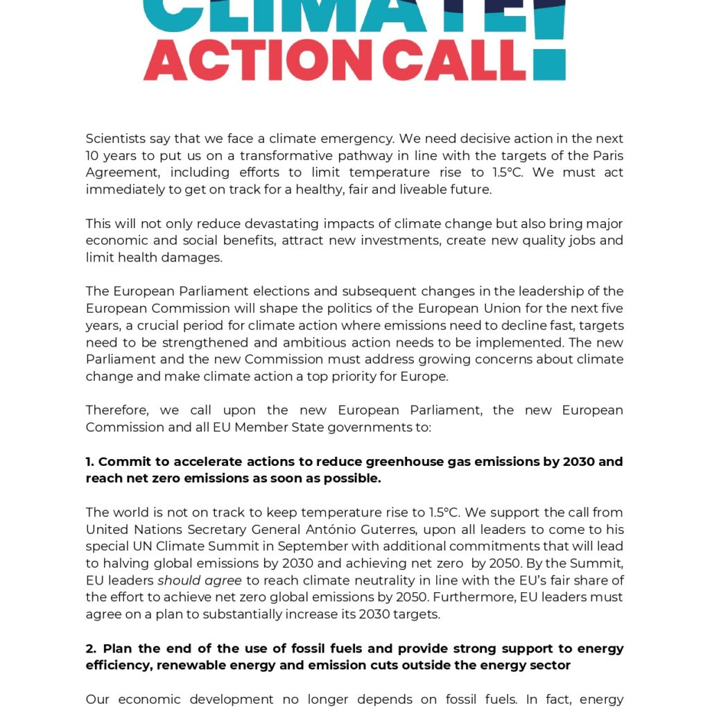 Climate Action Call ahead of EU Elections and new Commission