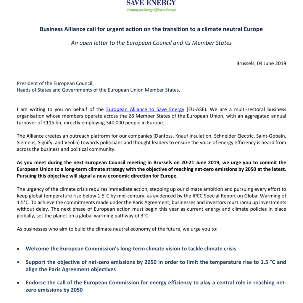 Business Alliance call for urgent action on the transition to a Climate Neutral Europe