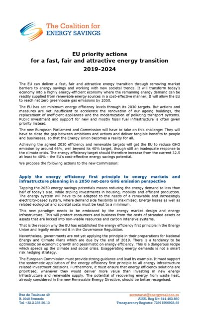 EU priority actions for a fast, fair and attractive energy transition 2019-2024
