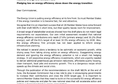 National Energy and Climate Plans – Pledging low on energy efficiency slows down the energy transition