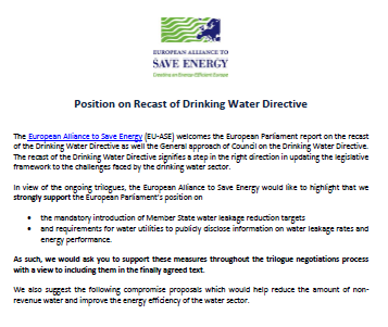 Businesses position on recast of Drinking Water Directive