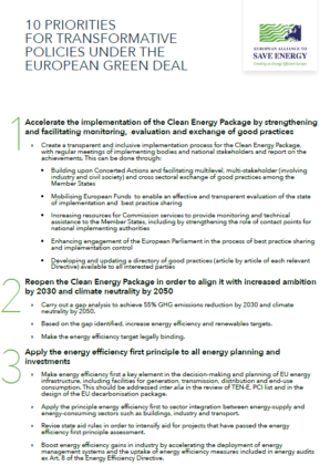 10 priorities for transformative policies under the European Green Deal