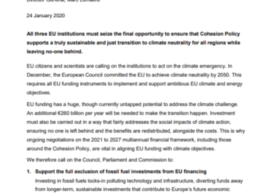 Open letter from the Coalition for Higher Ambition on Cohesion Policy