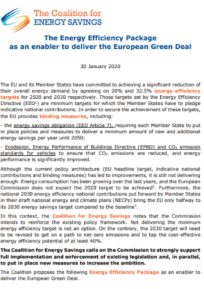EU-ASE contributes to Coalition's Energy Efficiency package for the European Green Deal