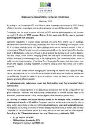 EU-ASE response to European Commission consultation on climate law