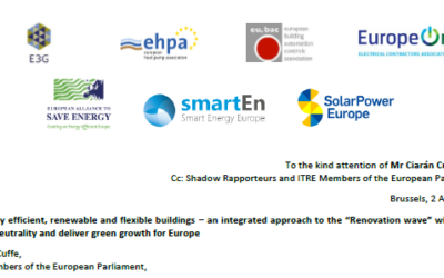 """Letter: Energy efficient, renewable and flexible buildings – an integrated approach to the """"Renovation wave"""" will secure climate-neutrality and deliver green growth for Europe"""