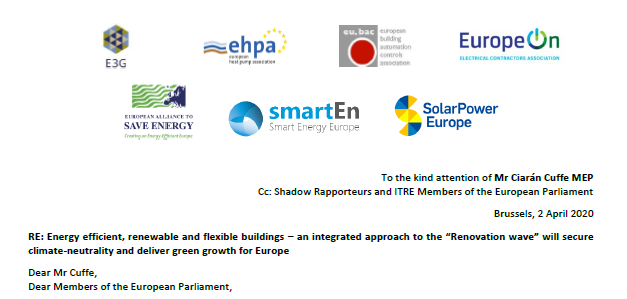 "Letter: Energy efficient, renewable and flexible buildings – an integrated approach to the ""Renovation wave"" will secure climate-neutrality and deliver green growth for Europe"