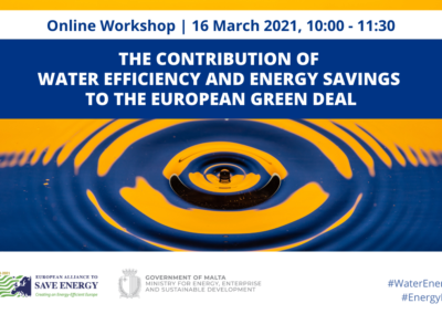 The contribution of water efficiency and energy savings to the European Green Deal